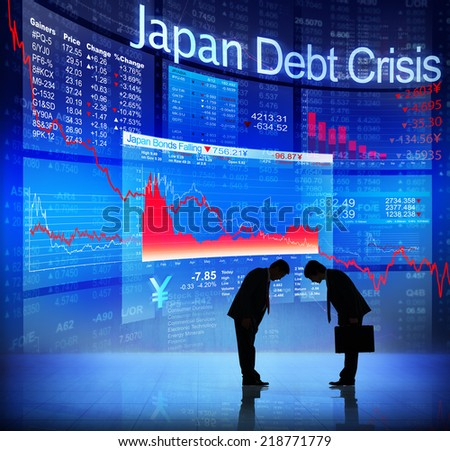 Silhouette of Business People and Japan Debt Crisis - stock photo