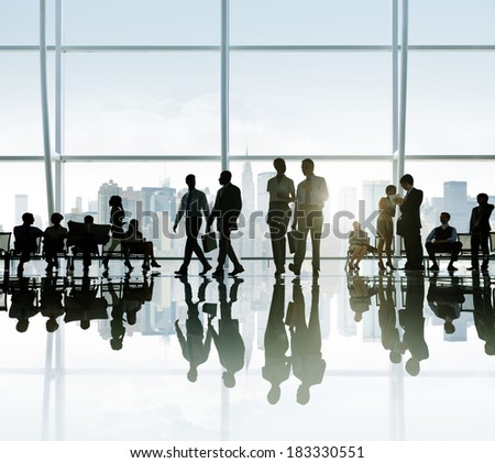 Silhouette of Business People at Break in New York - stock photo