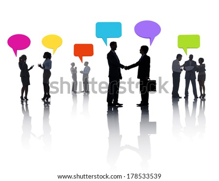 Silhouette of Business People Meeting and Greeting