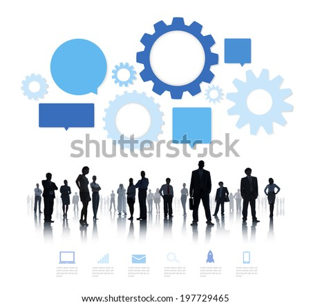 Silhouette of Business People Teamwork Infographic