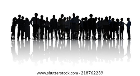 Silhouette of Business People Working