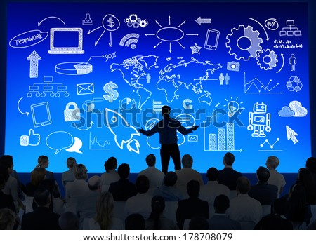 Silhouette of Business Presentation with Infographic - stock photo