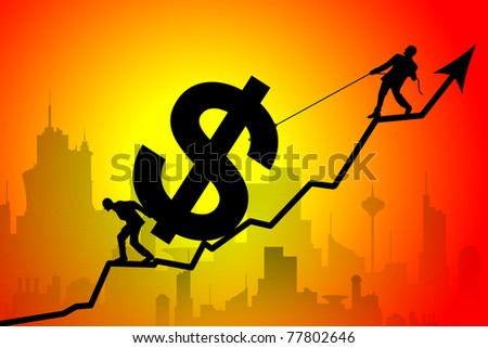 Silhouette of business team moving up the dollar symbol against city