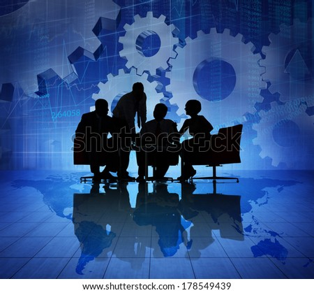 Silhouette of Business Teamwork Meeting - stock photo