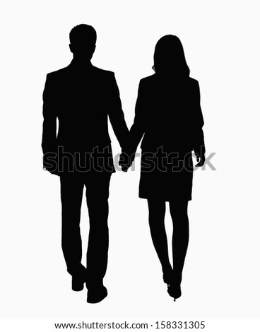 Silhouette of businessman and businesswoman holding hands. - stock photo