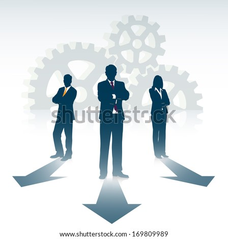 silhouette of businesspeople on the background of gears - stock photo