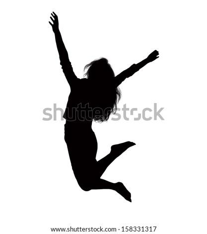 Silhouette Businesswoman Jumping - 15.2KB