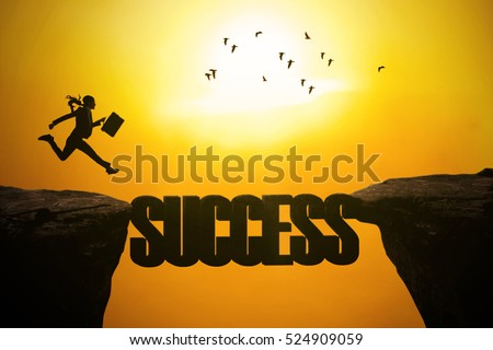 Silhouette of businesswoman running on the mountain with success word be a bridge on the cliff