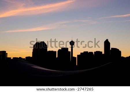 Silhouette of Calgary city skyline - stock photo