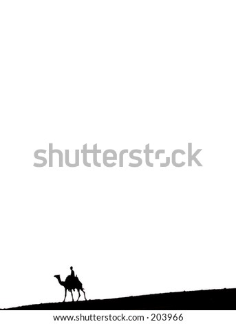 Silhouette of camel and rider alone in the desert