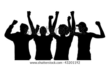 Silhouette of cheering people isolated on a white background - stock photo