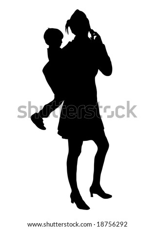 silhouette of child and mother on phone