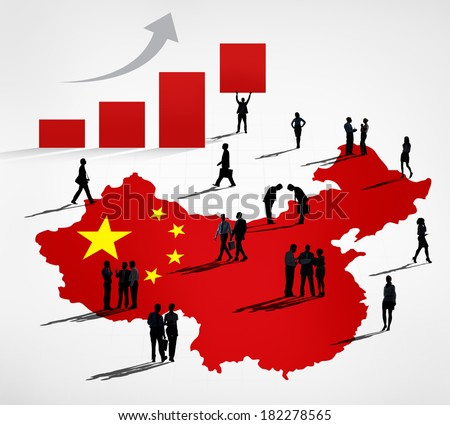 Silhouette of Chinese Business Growth - stock photo