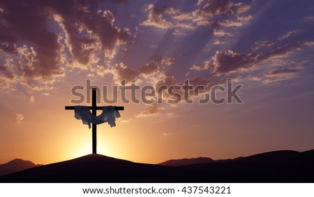 Silhouette of Christian cross at sunrise or sunset concept of religion - stock photo