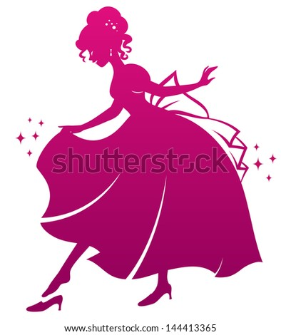 silhouette of Cinderella wearing her glass slipper (vector available in my gallery) - stock photo