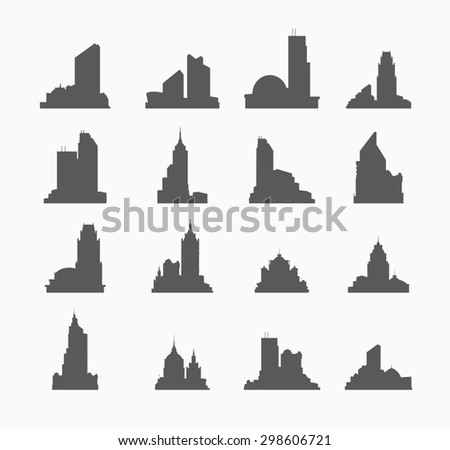 silhouette of city building set of buildings for design and creativity - stock photo
