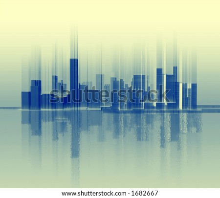 Silhouette of city which is similar to a sound wave