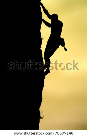 Silhouette of climber. Element of design. - stock photo