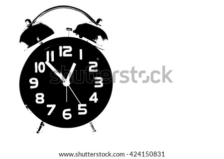 Silhouette of clock and copy space for your text