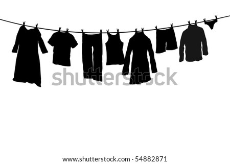 Silhouette of clothes drying on the rope with clothes-peg