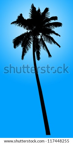 Silhouette of coconut palm isolated on blue, illustration - stock photo