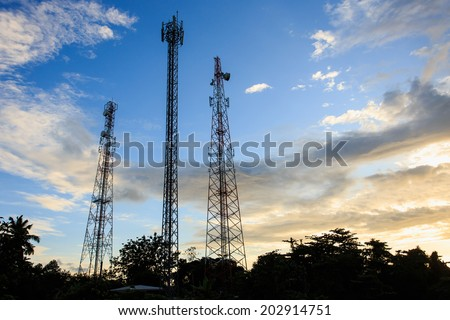 Silhouette of Communication Tower - stock photo