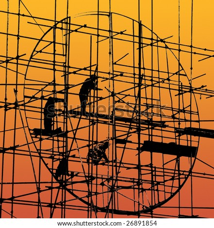 Silhouette of construction - stock photo