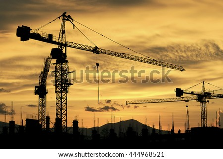 silhouette of construction site crane