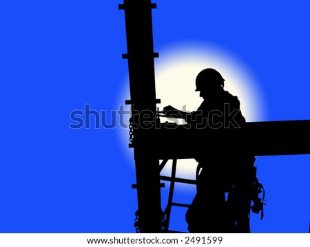 Silhouette of construction worker against simulated blue sky and moon.