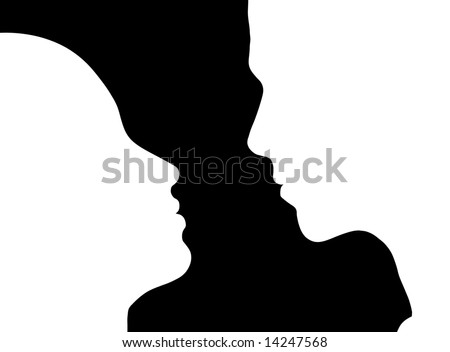 Silhouette of couple facing each other about to kiss