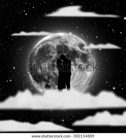 silhouette of couple stand together on sky with moon and cloud background. Elements of this image furnished by NASA