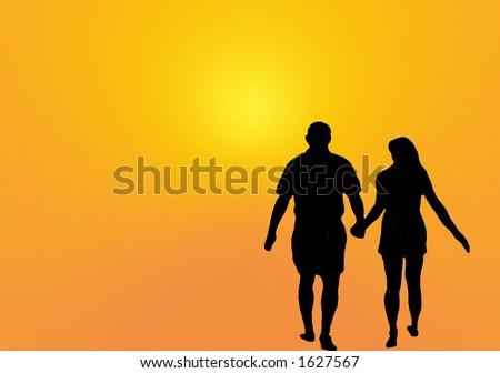 silhouette of couple walking towards sun - stock photo