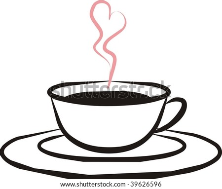 silhouette of cup of coffee with aroma heart