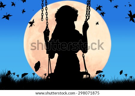 silhouette of cute girl play swing full moon background - stock photo