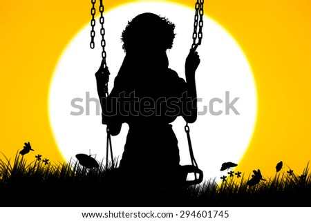 silhouette of cute girl play swing on sunset background - stock photo