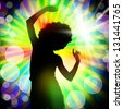 Silhouette of dancing girl against disco lights - stock photo