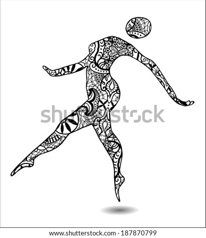 Silhouette of dancing girl, graphic style, hand-drawn sketch, detailed black lace pattern, black and white, raster version - stock photo