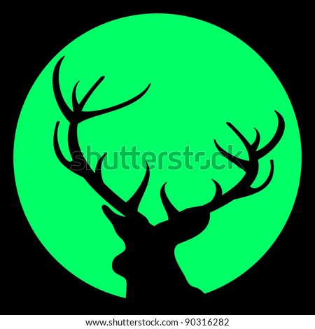 Silhouette of deer with antlers against moon on black sky - vector illustration. Avatar - stock photo