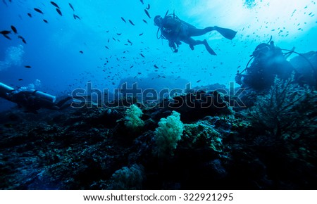 silhouette of diver underwater - stock photo