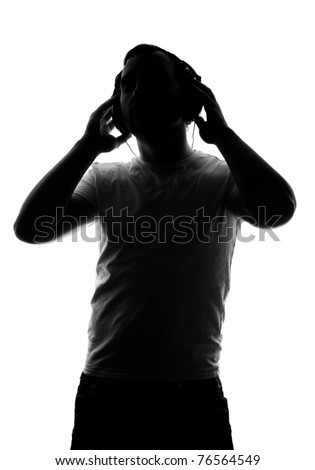 Silhouette of DJ with headphones - back light