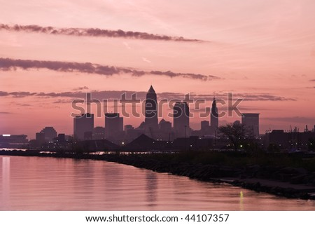Silhouette of Downtown Cleveland - seen early morning. - stock photo