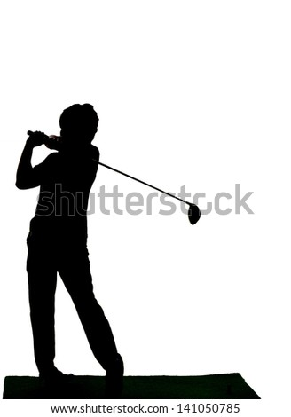 Silhouette of driving golf's man against white background. - stock photo