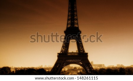 Silhouette of Eiffel Tower in Paris, France - stock photo