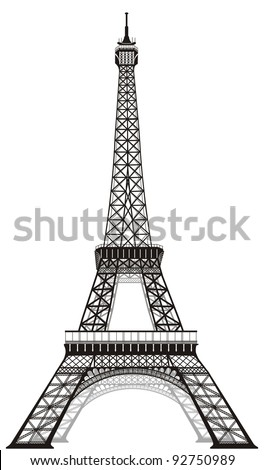 silhouette of Eiffel tower in Paris, isolated on white