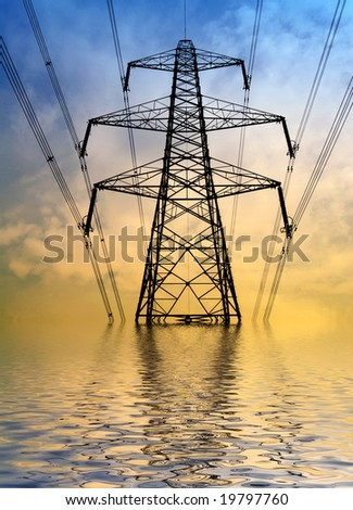 Silhouette of electricity pylon with flood water effect - stock photo
