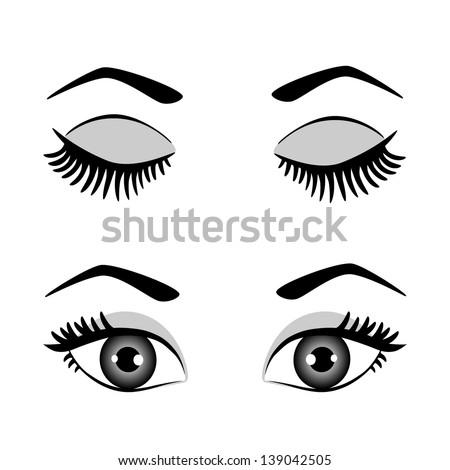 silhouette of eyes and eyebrow open and closed. raster version, vector file also included - stock photo
