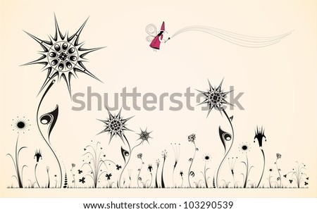 Silhouette of fantastic colors with a little fairy - stock photo