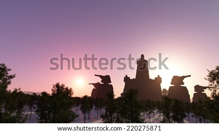Silhouette of fantastic military structure on a background of sunset sky
