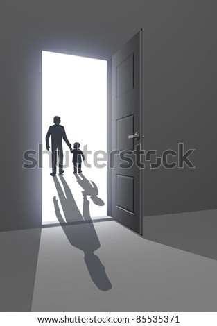Silhouette of father and child walking away - stock photo