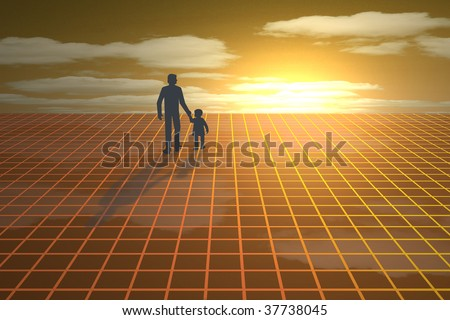 Silhouette of father and child walking towards sunset - stock photo